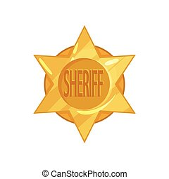 Old west police golden circle star badge in cartoon flat style. Vector sheriff emblem.