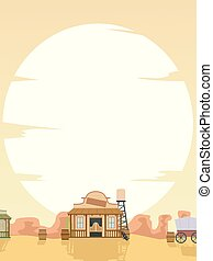 Background Illustration of a Big Sun Setting in the Old West with a Saloon, Wagon and Barrels