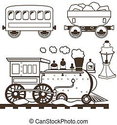 collection of old west trains with wagons and a lamp, outlined.