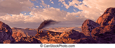 Old west train rolling through a Utah landscape with rock formations brought out by the evening sun light.