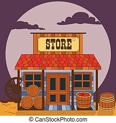 Vector illustration of an old west building - store.
