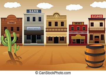 Old western town - A vector illustration of old western town