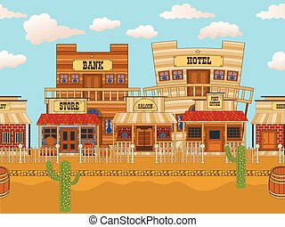 Vector illustration of an old western town horizontal tillable background.
