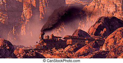 Old Western Train - Old west train rolling through a...