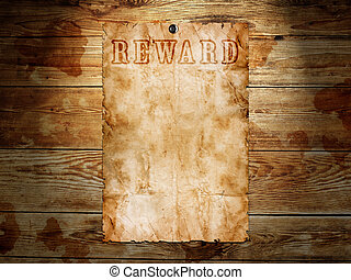 Old western wanted poster on wooden background
