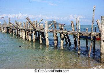 Old Wharf, pier coast of Malaysia, Langkawi. - Old Wharf,...