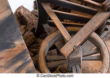 Old wheel on a wheelbarrow