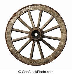 Old wheel isolated on white background.