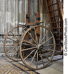 Old wheel staircase in church