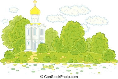 Old white church on a river bank - Ancient Russian orthodoxy...