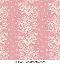 Old white elegant doily on lace pink background.