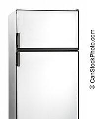 Old white fridge isolated on white. Vertical