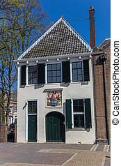 Old white house in the center of Utrecht, Holland