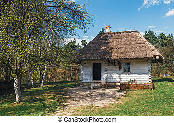 Old white log house with thatched roof
