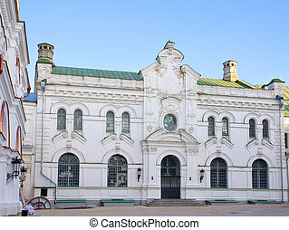 Old white monastery house in Kiev Pechersk Lavra