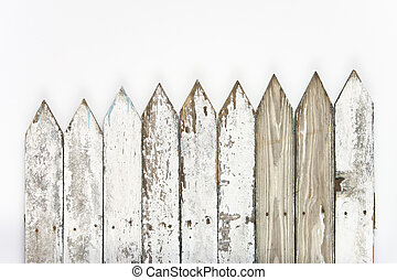 picket fence - old white picket fence faded faded and worn