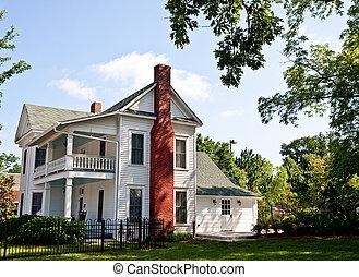 Old White Two Story Farmhouse