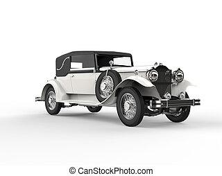 Old white vintage car - left side view