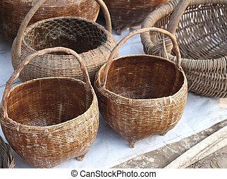 old wicker basket at market
