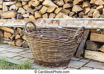 Old wicker basket,