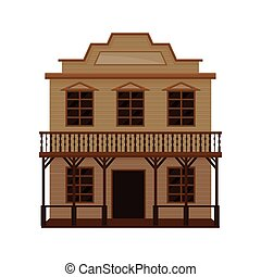 Old wild west saloon with porch, balcony and blank signboard. Wooden western house. Flat vector design