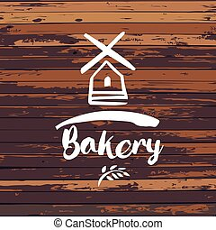 Old windmill, bakery logo design template. Vector illustration.
