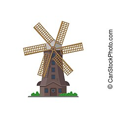 Old windmill building isolated icon