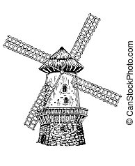 Old windmill engraving style vector illustration