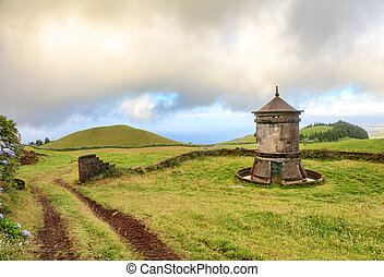 Old windmill in Azores, Portugal