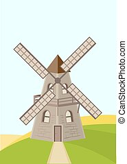 Old windmill in field