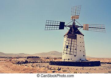 old windmill in Fuerteventura, Spain, filtered