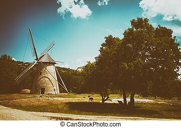Old windmill in hungary