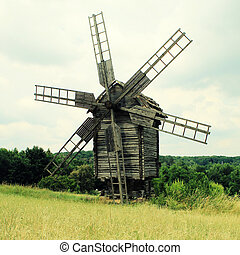 old windmill in  museum Pirogovo, Ukraine