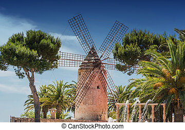 Old windmill in the Spanish style - Old historic windmill on...