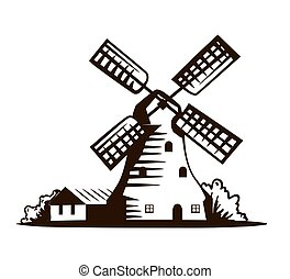 old windmill. vector illustration on white