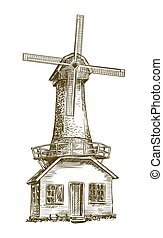 old windmill. vector sketch on white