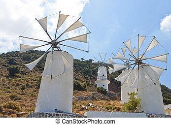 Old windmills Crete, Greece