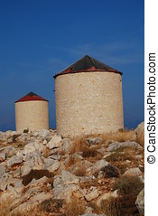 Old windmills, Halki island
