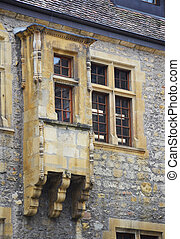 Old window and balcony in the Neuchatel Castle, Switzerland