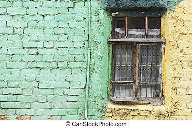old window and green wall -focus on the window - vintage...