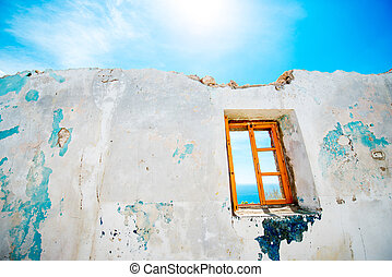 Old window in abandoned house