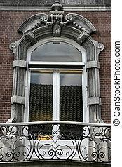 Old window in Den Bosch, Netherlands. Vintage architecture detail.