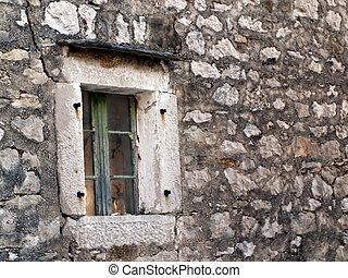 Old window in stone house