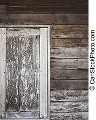 old window of wooden house