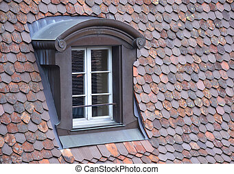 Old window on a roof