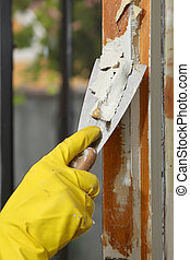 Old window restoration - Home renovation, worker remove...