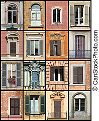 Colorful composition made of windows - architecture collage. Windows from Rome, Barcelona, Tallinn and Bergamo.