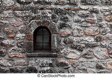 Old windows on brick wall