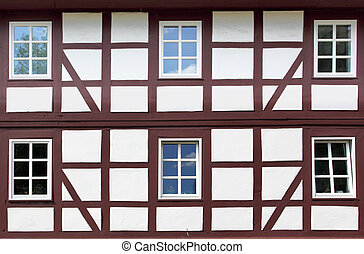 Old windows - Windows of old timber framing house