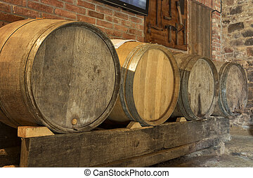 Old wine barrels in a cellar
